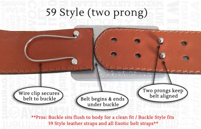 59 belts two prong buckle style fitting system