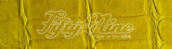 genuine american made caiman crocodile yellow color sample swatch