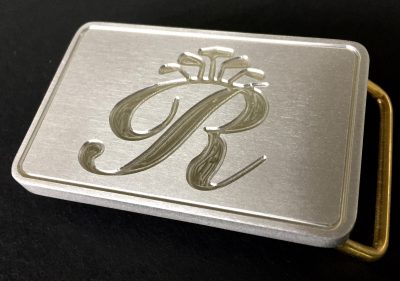 custom rosepenna reverse mill brushed belt buckle