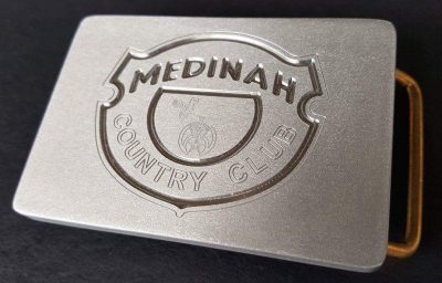 custom brushed aluminum medinah golf club logo belt buckle