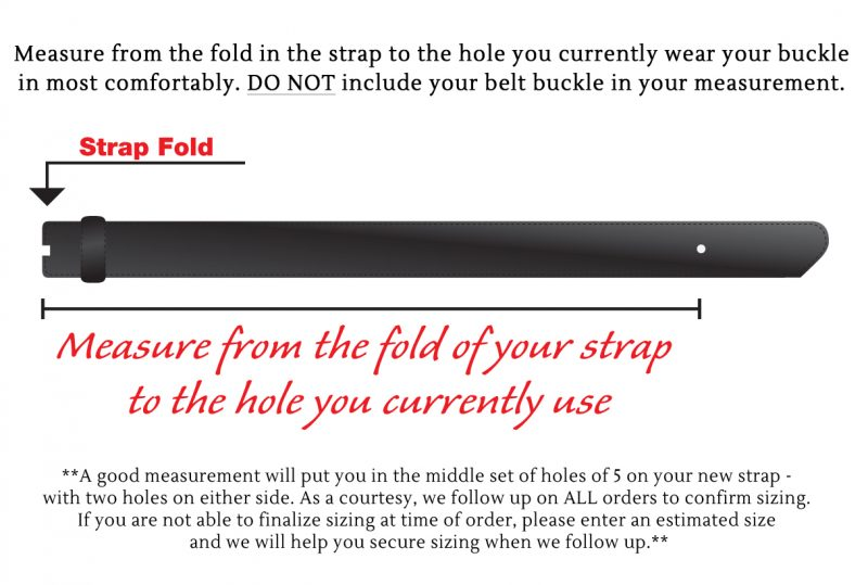 traditional fit belt sizing instructions or guide