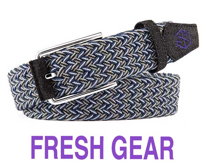 fresh braided stretch golf belt - blue/grey