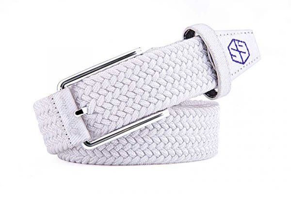 pure escape braided stretch golf belt - white