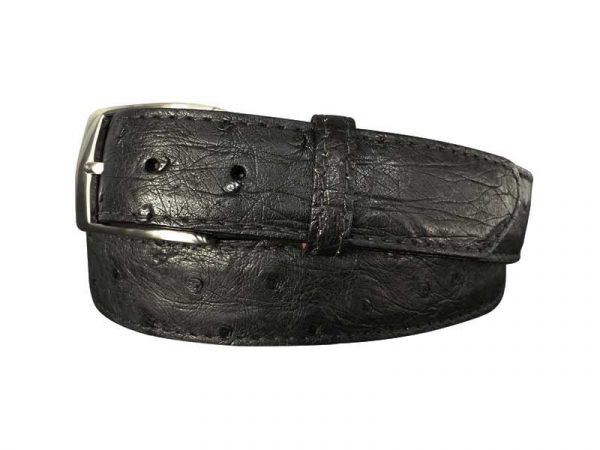 genuine black exotic ostrich quill skin belt with black stitch