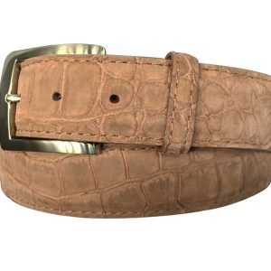 genuine suede american alligator belt strap - taupe