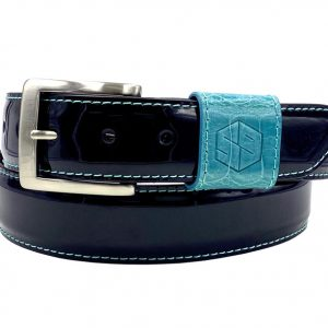 customizable patent leather belt - black