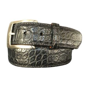 genuine american alligator belt strap - matte black