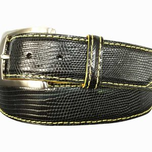 genuine black lizard skin exotic belt strap - yellow stitch