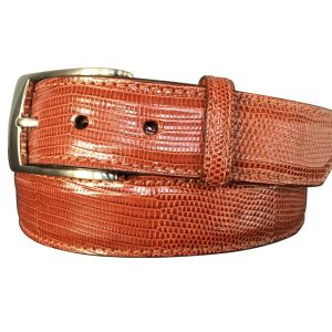 genuine cognac lizard skin exotic belt strap