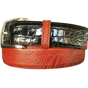 genuine black gloss alligator on cognac ostrich leg belt strap