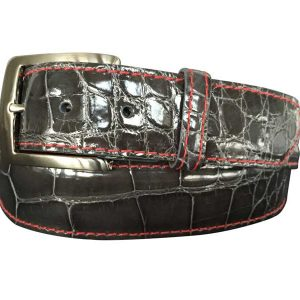 genuine grey gloss american alligator belt strap - red stitch