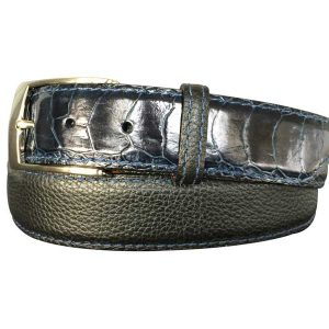 black pebble calfskin & navy gloss alligator hybrid belt