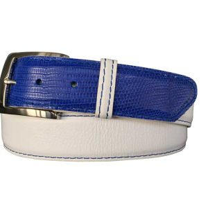 white pebble calfskin on electric blue lizard hybrid belt strap