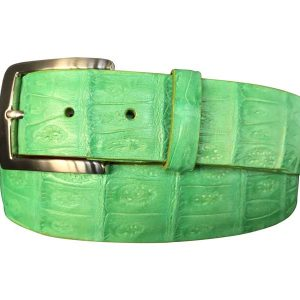 bright lime green authentic hand-made caiman crocodile belt