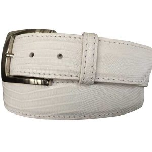 genuine lizard exotic belt strap and buckle - white