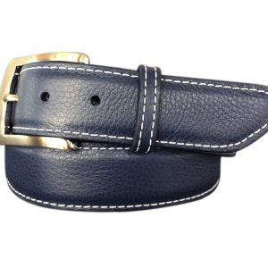 pebble calfskin belt - navy with white stitch
