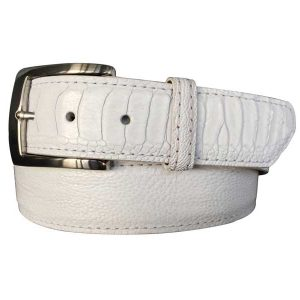 genuine white ostrich leg skin exotic belt strap