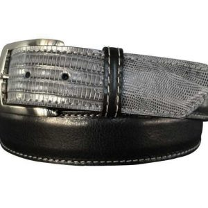 black italian calfskin & grey lizard hybrid belt