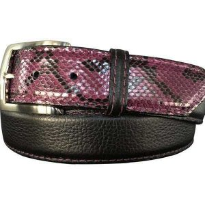 black pebble calfskin & purple python hybrid belt