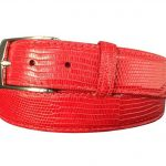 genuine red lizard skin exotic belt strap