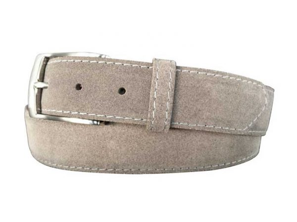 grey suede calfskin belt - grey stitch
