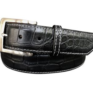 genuine alligator belt strap - black / grey stitch