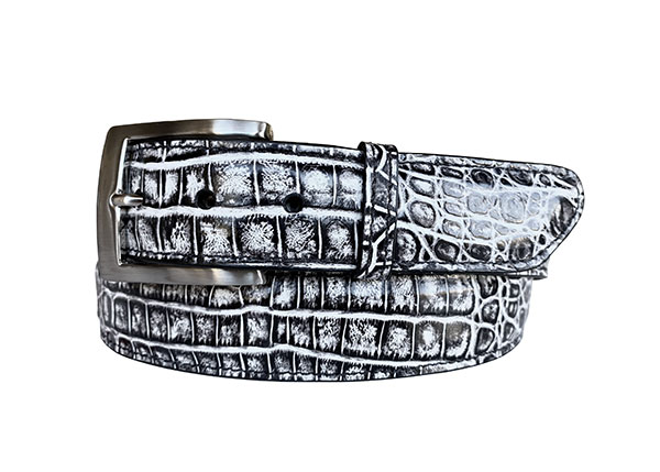 two tone argentine crocodile belt strap - black & white