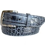 Two-Tone-Genuine-Argentine-Crocodile-Belt—Blackened-Grey