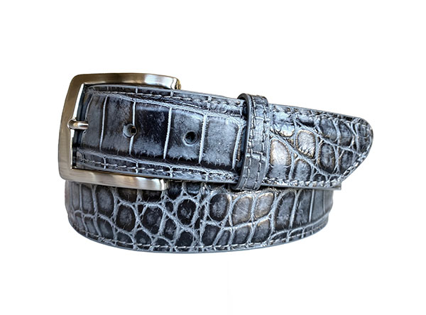 two tone argentine crocodile belt strap - Blackened Grey