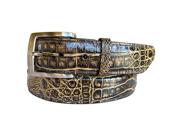 two tone argentine crocodile belt strap - chocolate & tan