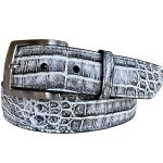 Two-Tone-Genuine-Argentine-Crocodile-Belt-Grey-White