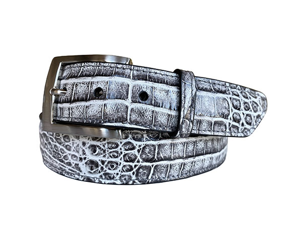 two tone argentine crocodile belt strap - grey & white