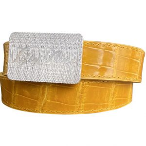 genuine yellow gloss american alligator belt strap - yellow stitch