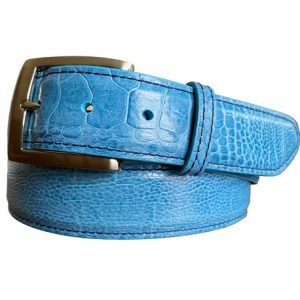 genuine exotic ostrich leg belt - denim